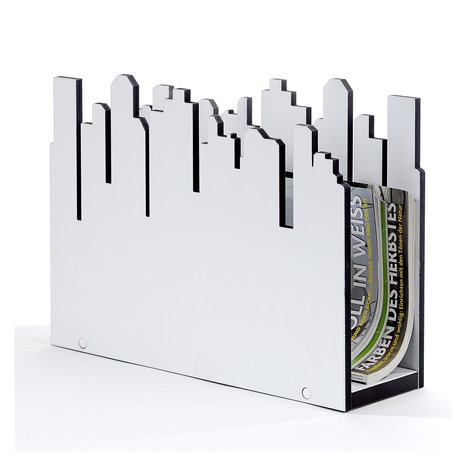 Design Zeitungsständer Holz ~   Zeitschriftenhalter Magazinsammler Holz in weiss braun Design  eBay