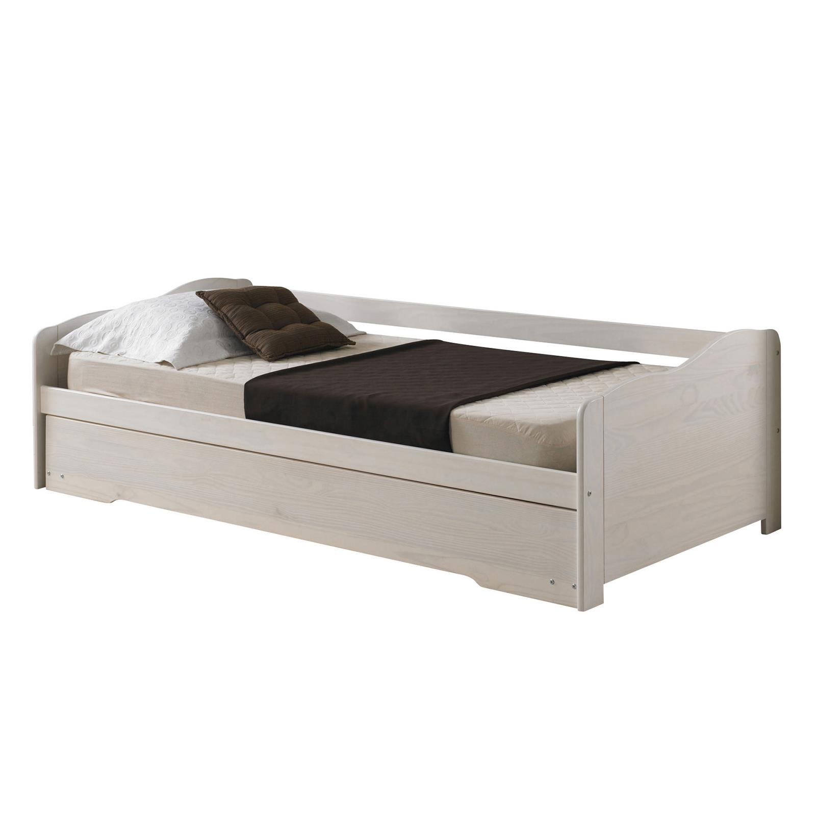 lit gigogne lit fonctionnel tiroir lit 90 x 200 cm pin massif lasur blanc eur 167 95. Black Bedroom Furniture Sets. Home Design Ideas