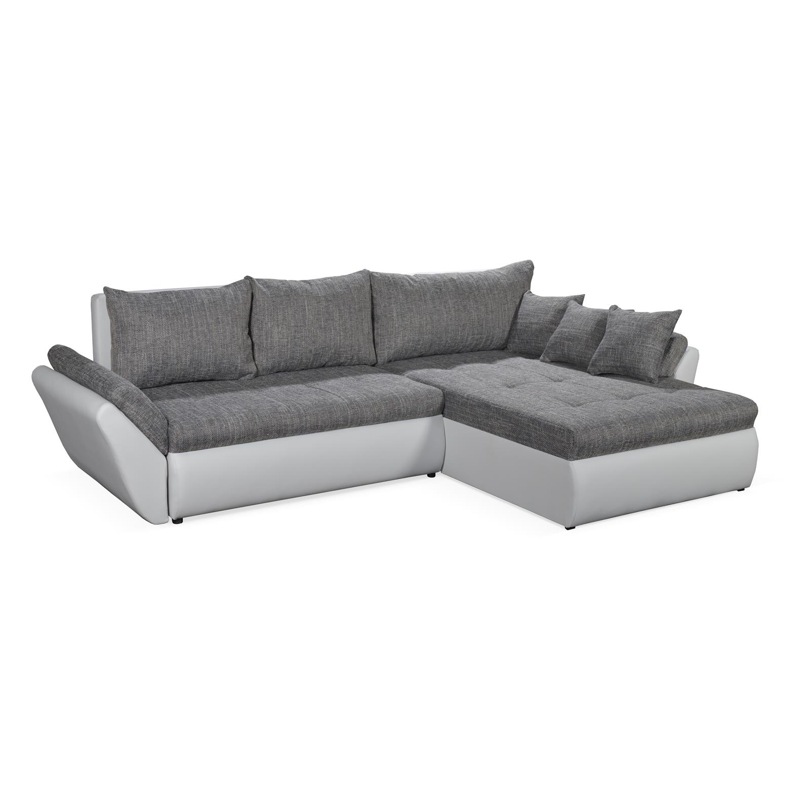 eckcouch sofa weiss grau mit schlaffunktion bettkasten ottomane garnitur design ebay. Black Bedroom Furniture Sets. Home Design Ideas