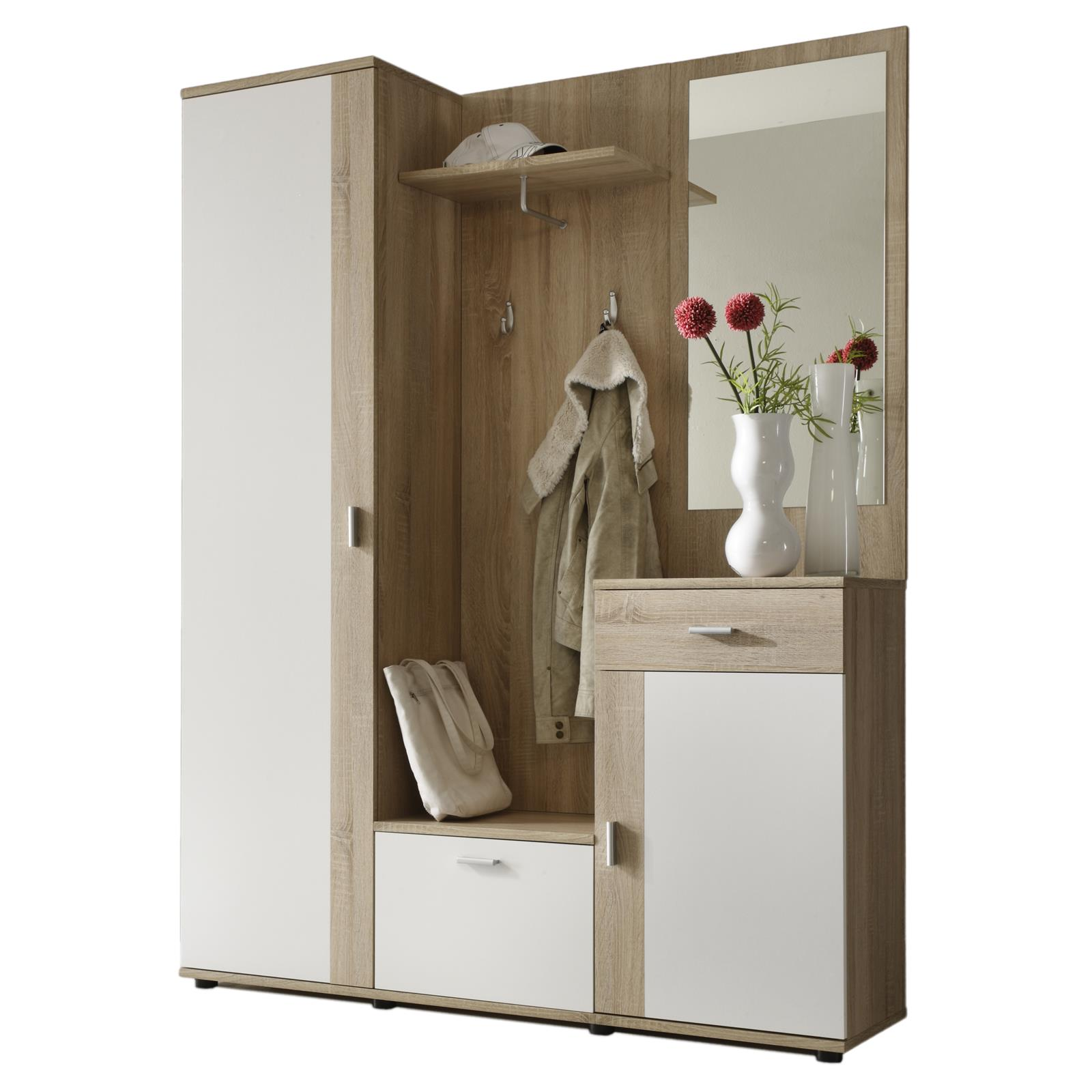 garderobe kompakt schrank kommode flur diele m bel spiegel in sonoma eiche weiss ebay. Black Bedroom Furniture Sets. Home Design Ideas