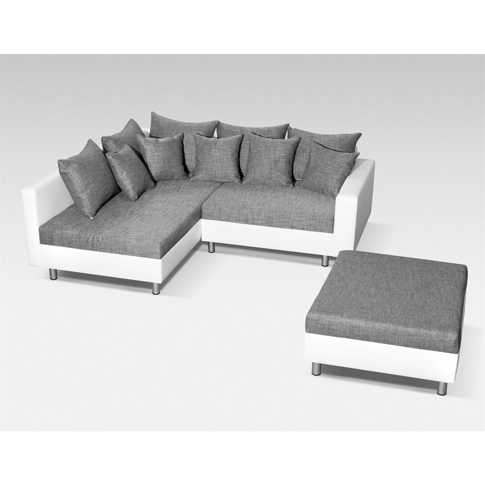 ecksofa couch mit hocker in schwarz grau weiss polster garnitur ottomane links ebay. Black Bedroom Furniture Sets. Home Design Ideas