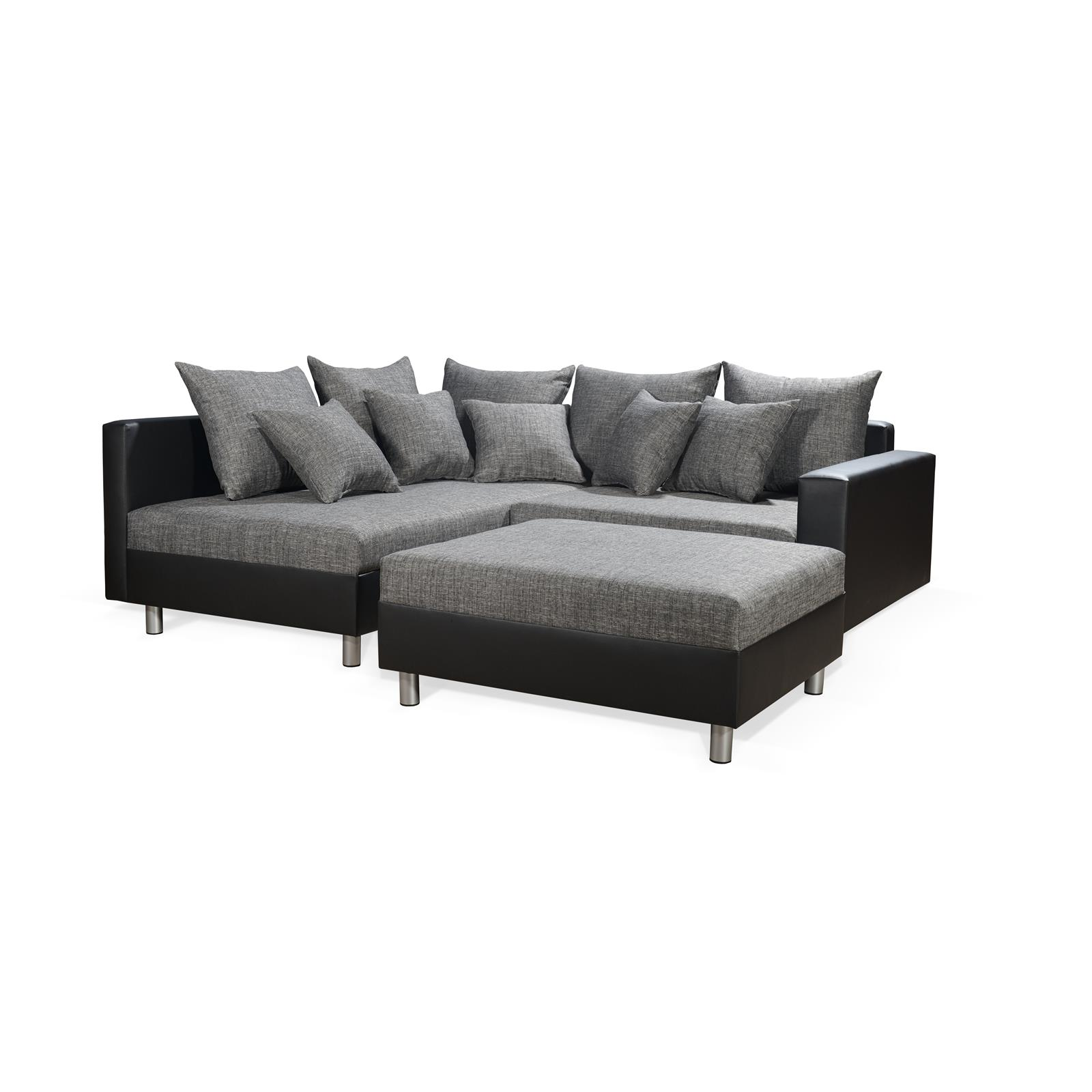 ecksofa couch mit hocker in schwarz grau weiss polster garnitur ottomane links. Black Bedroom Furniture Sets. Home Design Ideas