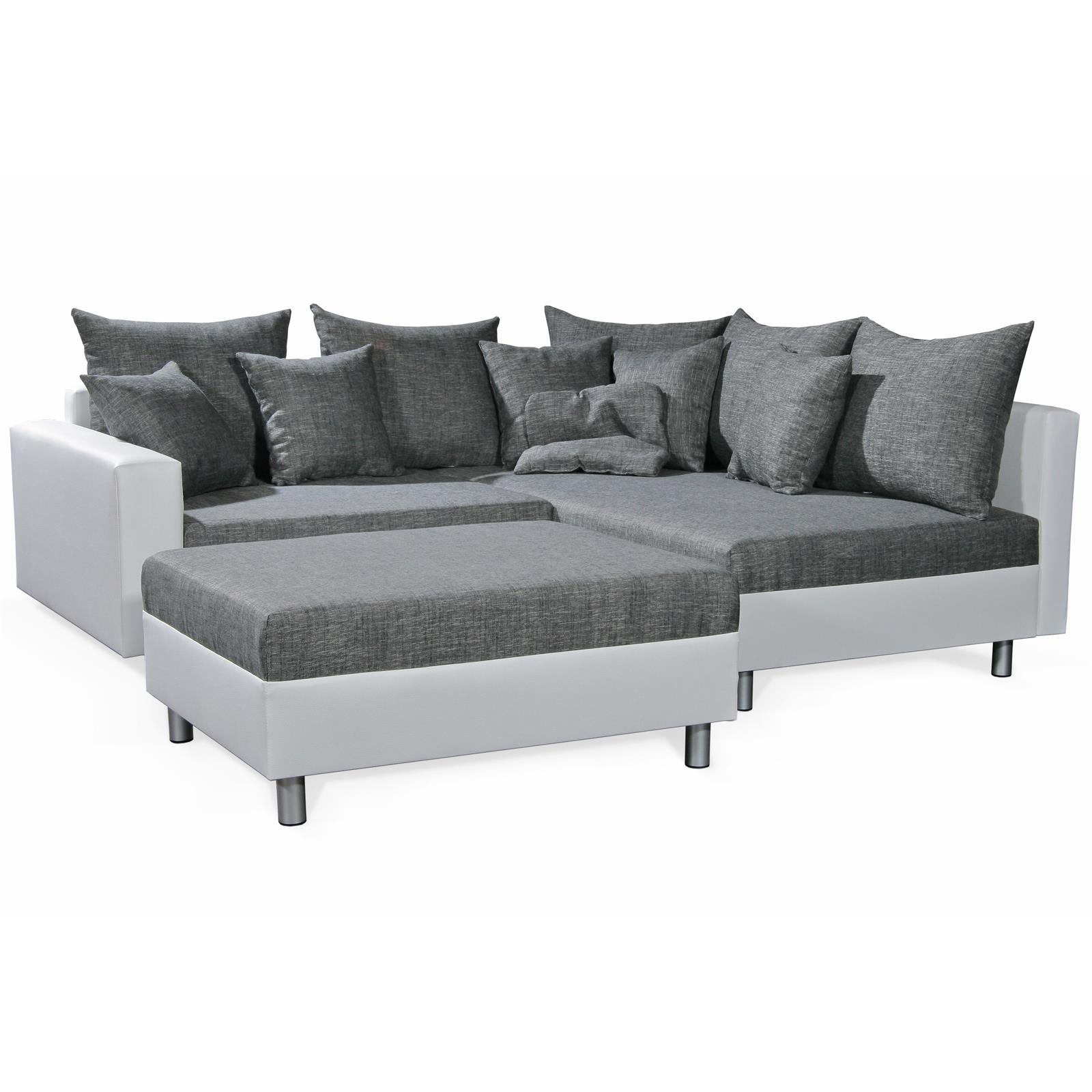 ecksofa couch mit hocker in schwarz weiss grau ottomane rechts polster garnitur ebay. Black Bedroom Furniture Sets. Home Design Ideas