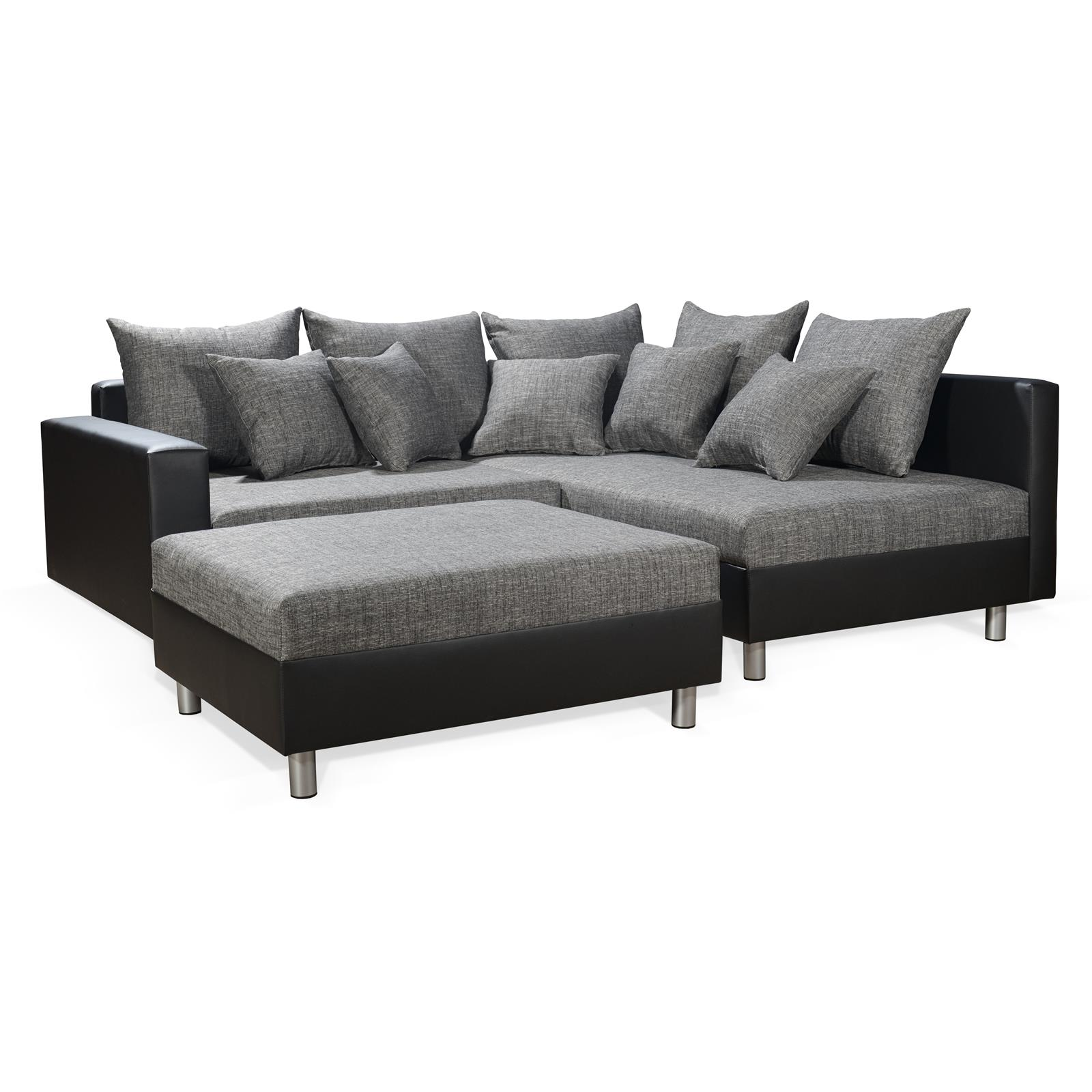 ecksofa couch mit hocker in schwarz weiss grau ottomane. Black Bedroom Furniture Sets. Home Design Ideas