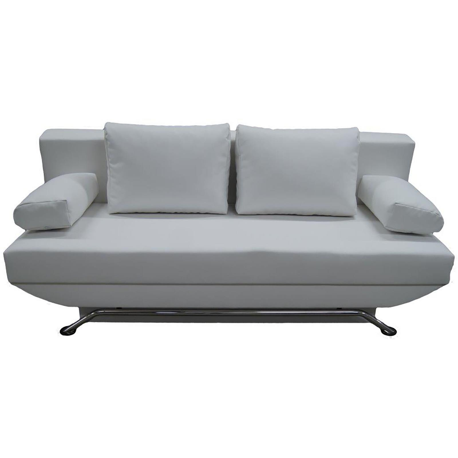 schlafsofa couch mit bettkasten in schwarz oder weiss 3 sitzer kunstleder modern ebay. Black Bedroom Furniture Sets. Home Design Ideas