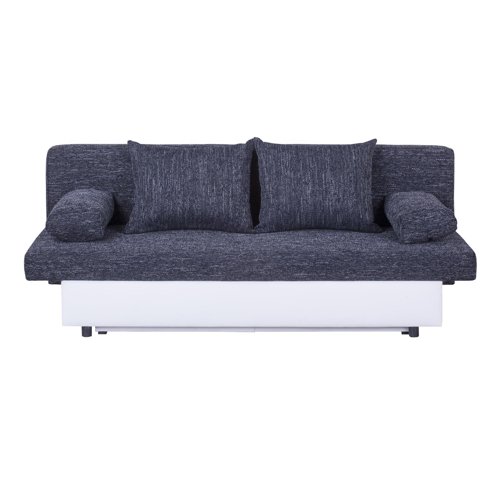 schlafsofa couch 2 sitzer mit schlaffunktion und bettkasten grau oder schwarz ebay. Black Bedroom Furniture Sets. Home Design Ideas