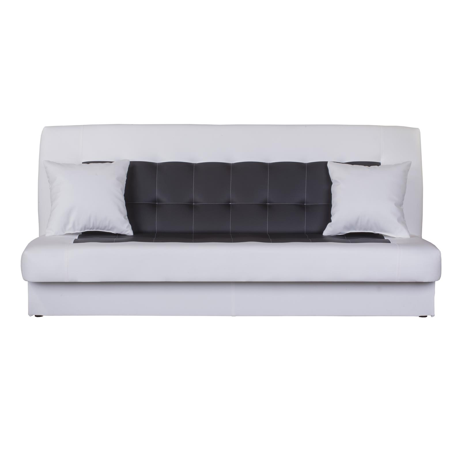 schlafcouch sofa 3 sitzer weiss schwarz grau mit bettkasten funktion design ebay. Black Bedroom Furniture Sets. Home Design Ideas
