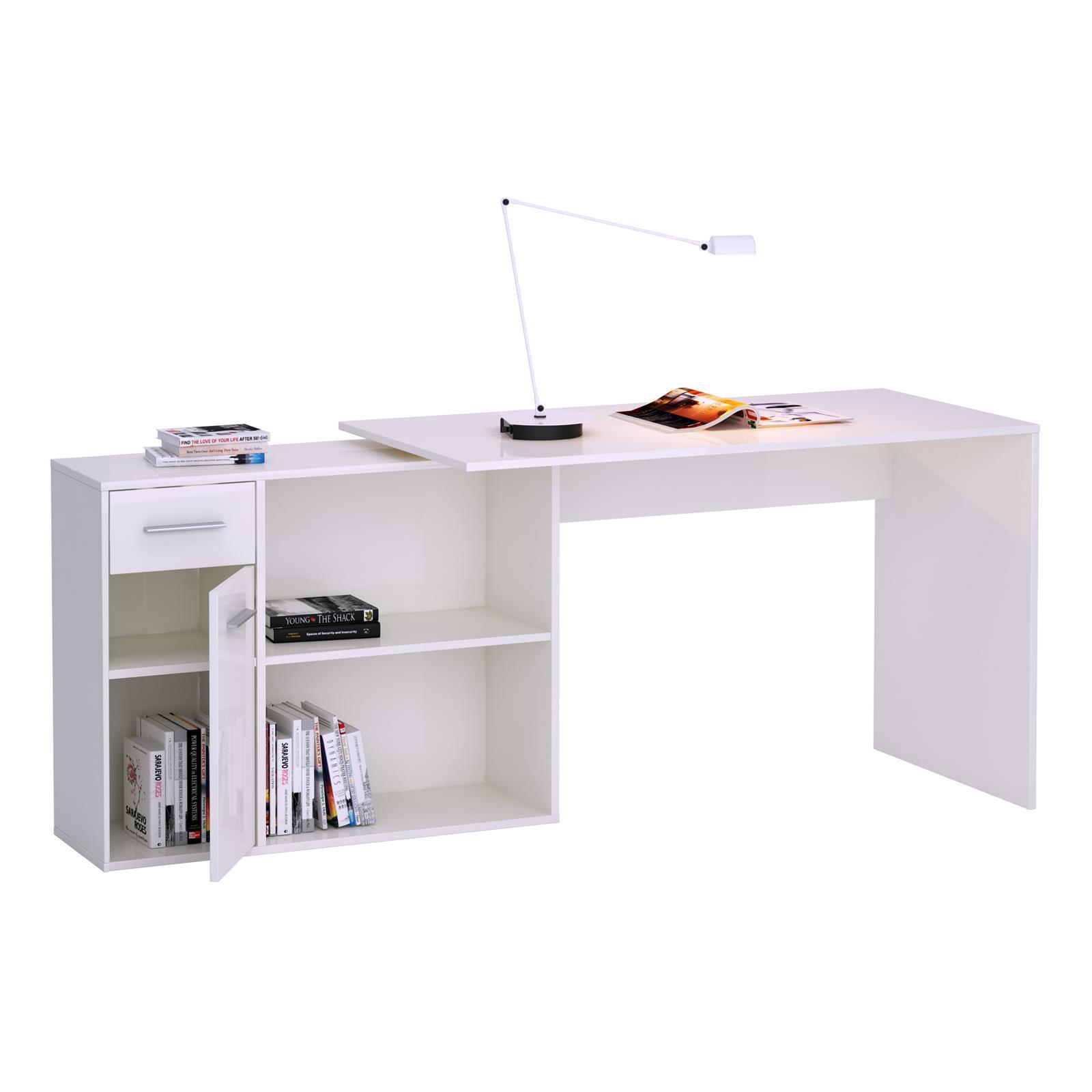 eck schreibtisch mit regal sonoma eiche wei winkel b ro. Black Bedroom Furniture Sets. Home Design Ideas