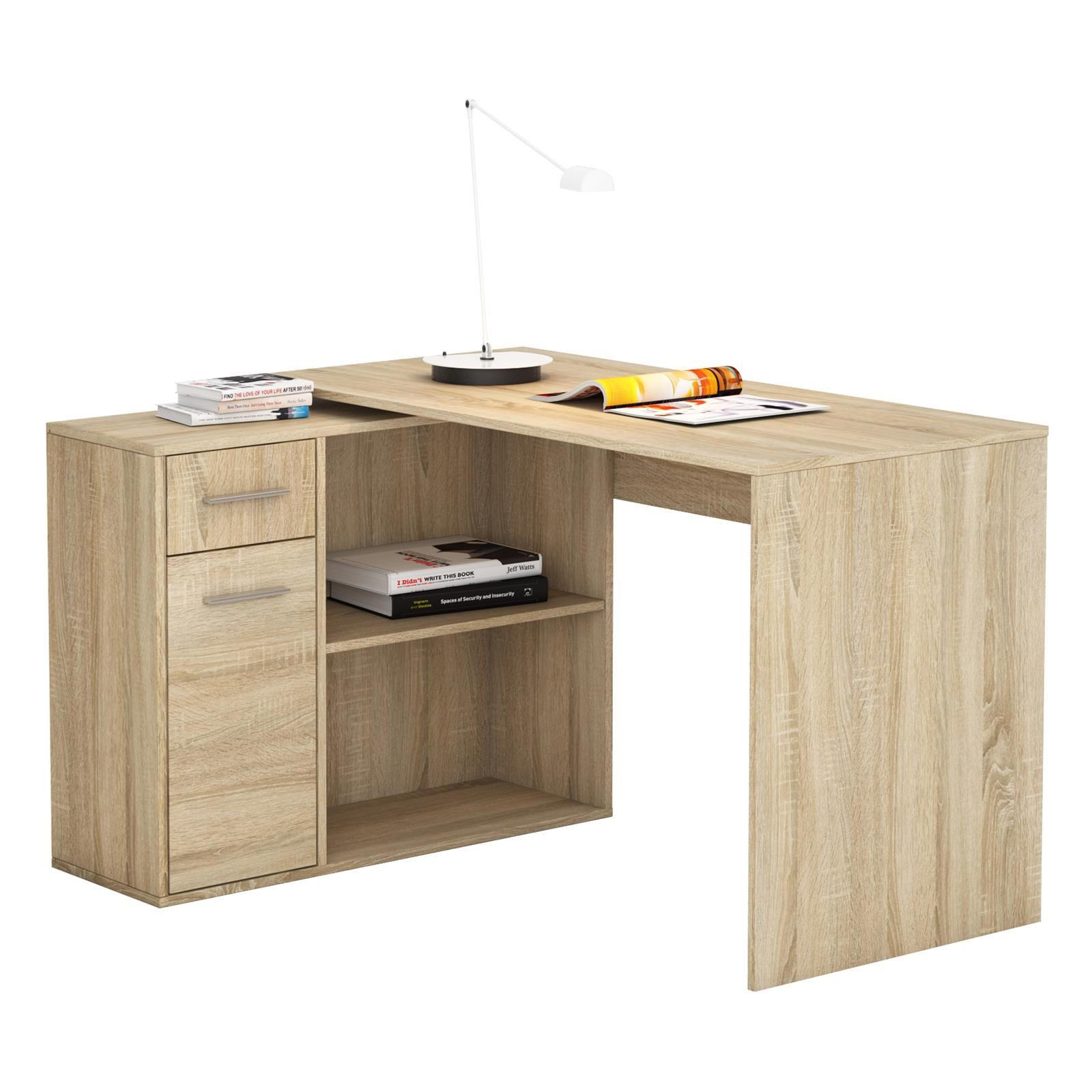 eckschreibtisch schreibtisch mit regal winkel b ro pc tisch computer jugend ebay. Black Bedroom Furniture Sets. Home Design Ideas