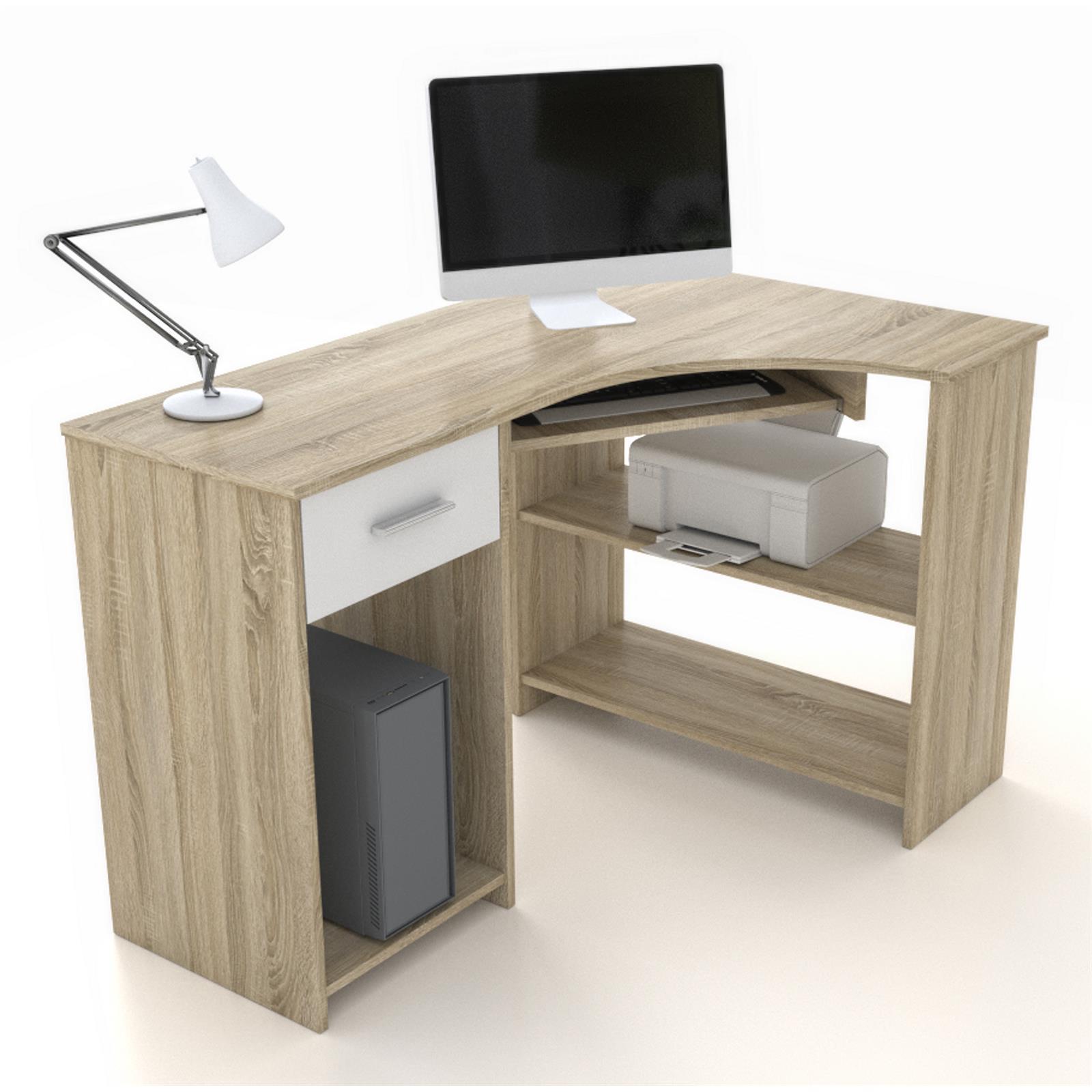 eckschreibtisch mit tastaturauszug schreibtisch computer winkel pc b ro m bel ebay. Black Bedroom Furniture Sets. Home Design Ideas