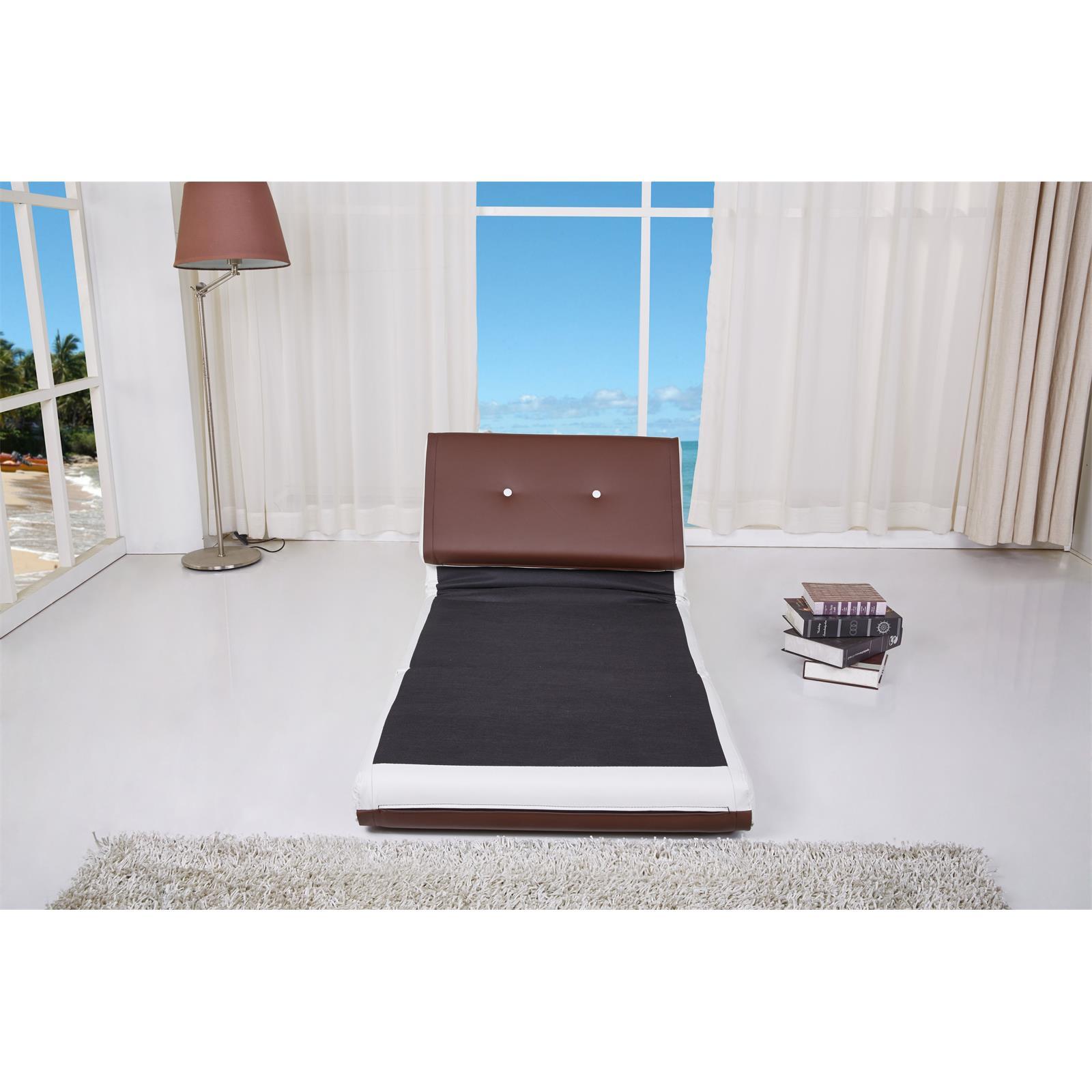schlafsessel sofaliege design jugend bett braun weiss kunstleder modern g ste ebay. Black Bedroom Furniture Sets. Home Design Ideas