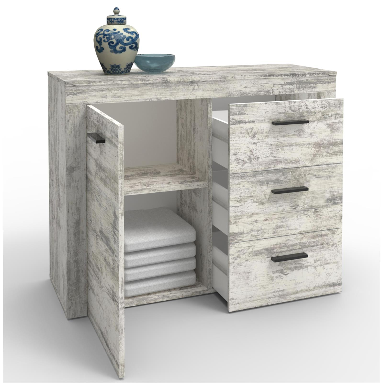 kommode sideboard highboard shabby chic oder sonoma eiche 110 cm 3 schubladen ebay. Black Bedroom Furniture Sets. Home Design Ideas