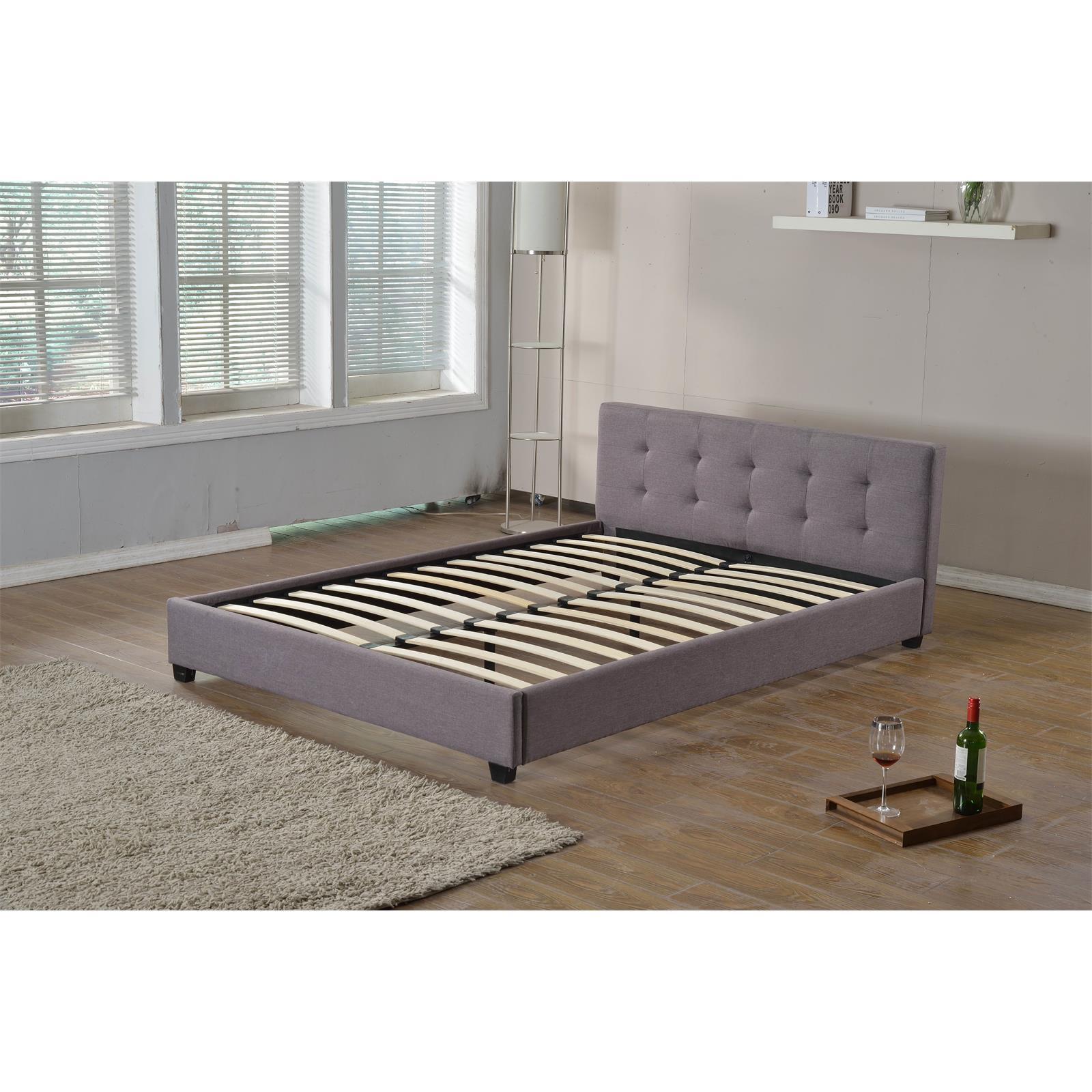 polsterbett doppelbett 140x200 mit rollrost stoffbezug grau o schwarz gestell ebay. Black Bedroom Furniture Sets. Home Design Ideas