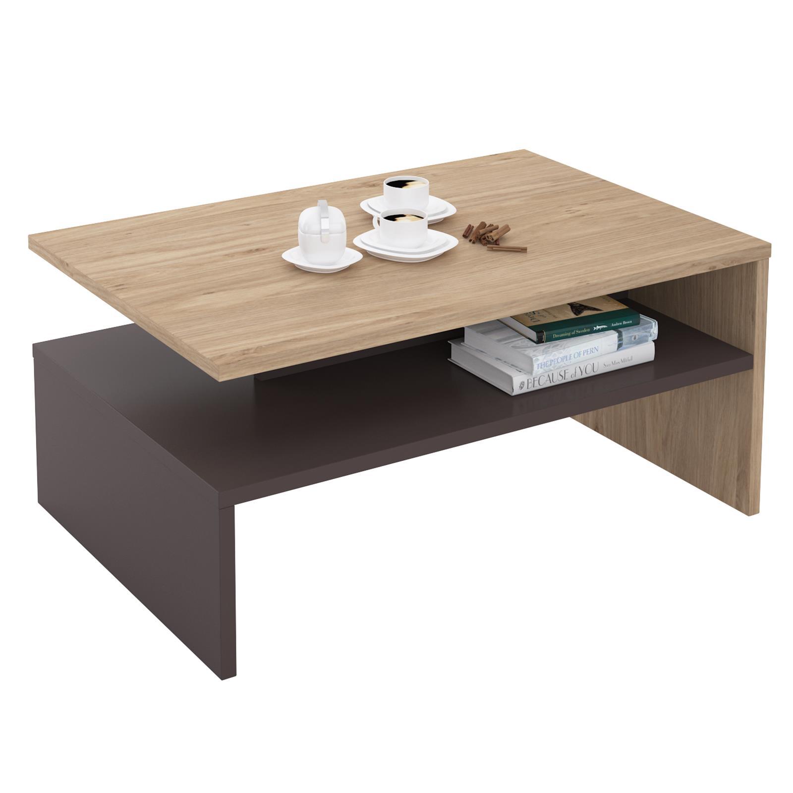 wohnzimmer couchtisch sofatisch beistelltisch mit ablage viele farben 90 cm ebay. Black Bedroom Furniture Sets. Home Design Ideas