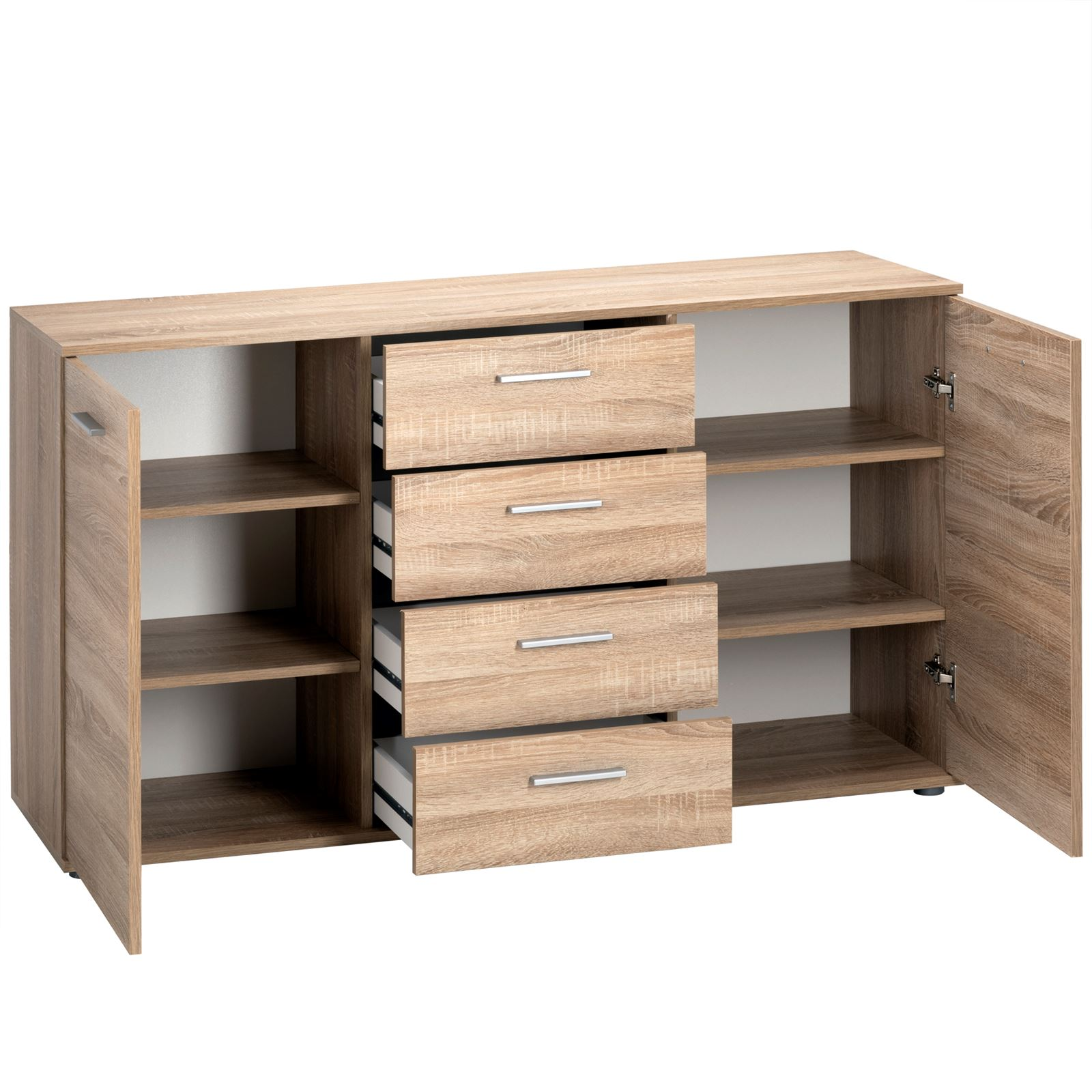 kommode sideboard anrichte schrank highboard 2 t ren 4 schubladen. Black Bedroom Furniture Sets. Home Design Ideas
