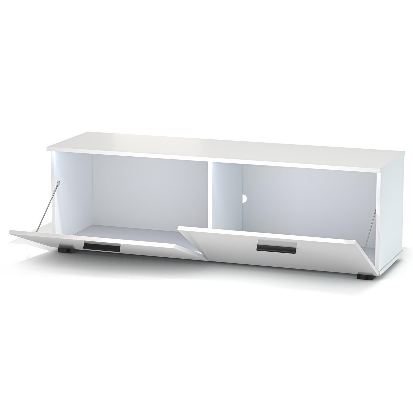 tv lowboard in wei mit led beleuchtung 138 cm fernseh schrank rack m bel tisch eur 99 95. Black Bedroom Furniture Sets. Home Design Ideas