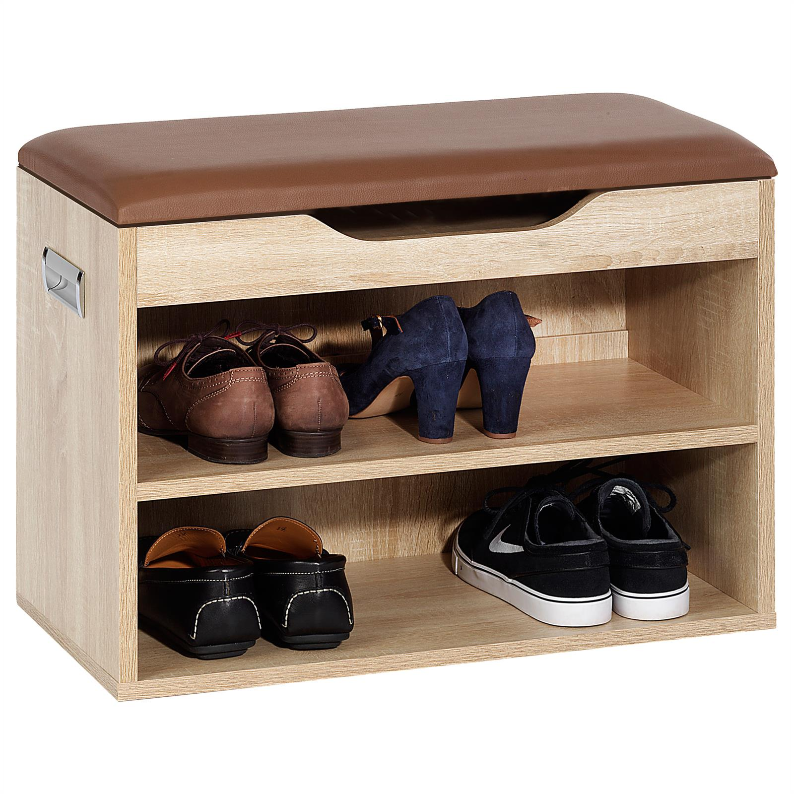 schuhbank sitzbank truhe schuhregal mit kissen 6 paar schuhe schrank ablage 60cm ebay. Black Bedroom Furniture Sets. Home Design Ideas