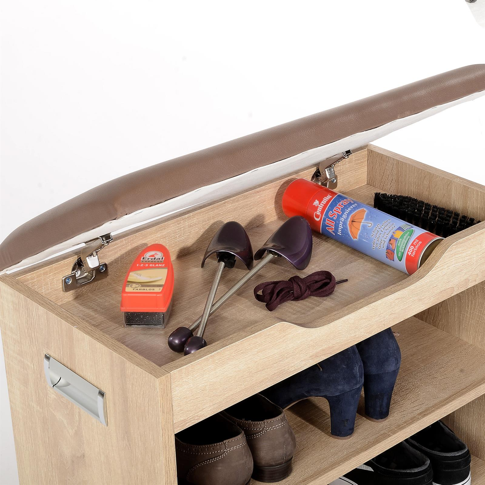 schuhbank sitzbank truhe schuhregal mit kissen 6 paar. Black Bedroom Furniture Sets. Home Design Ideas