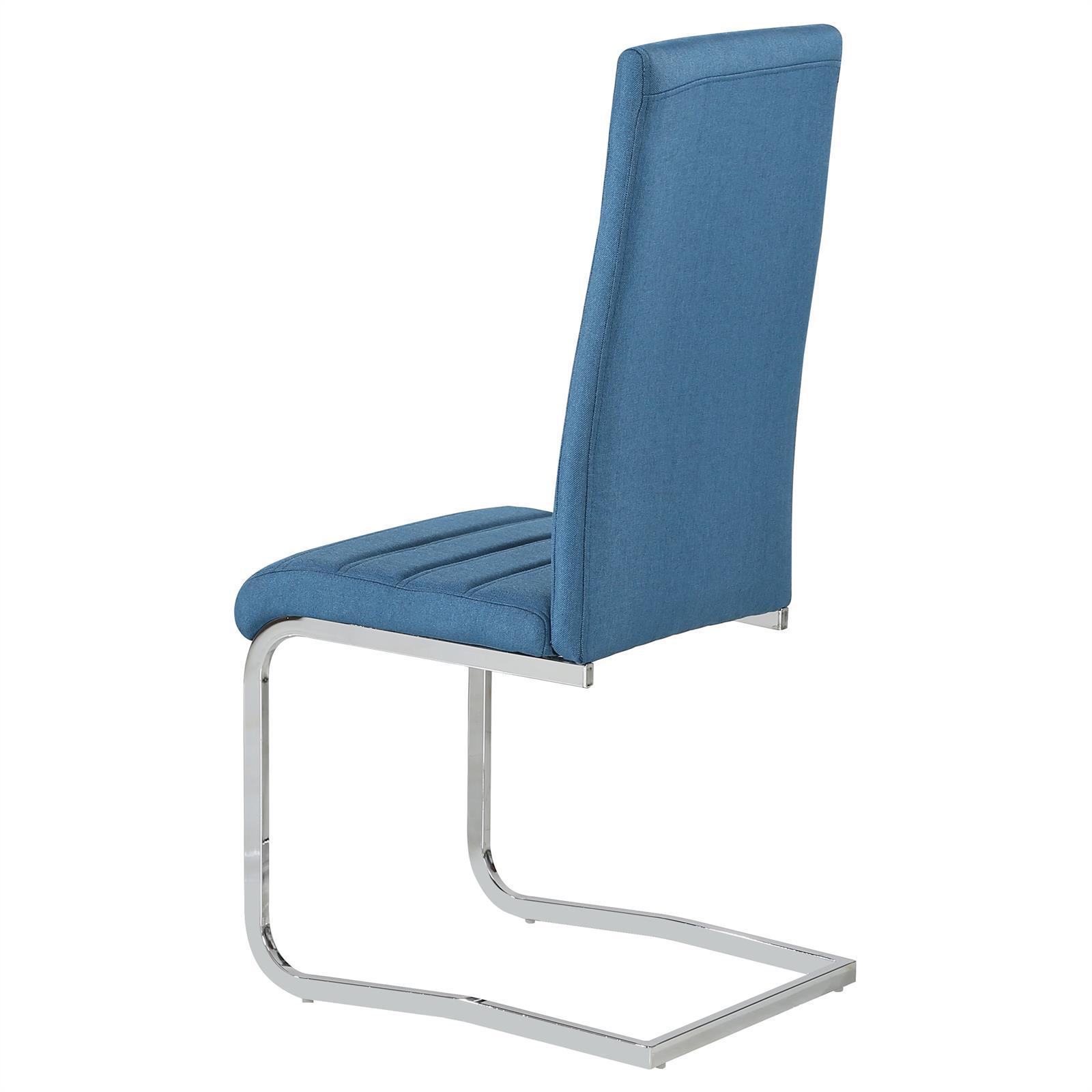 4er set esszimmerstuhl k chenstuhl schwingstuhl stoffbezug chrom modernes design ebay. Black Bedroom Furniture Sets. Home Design Ideas