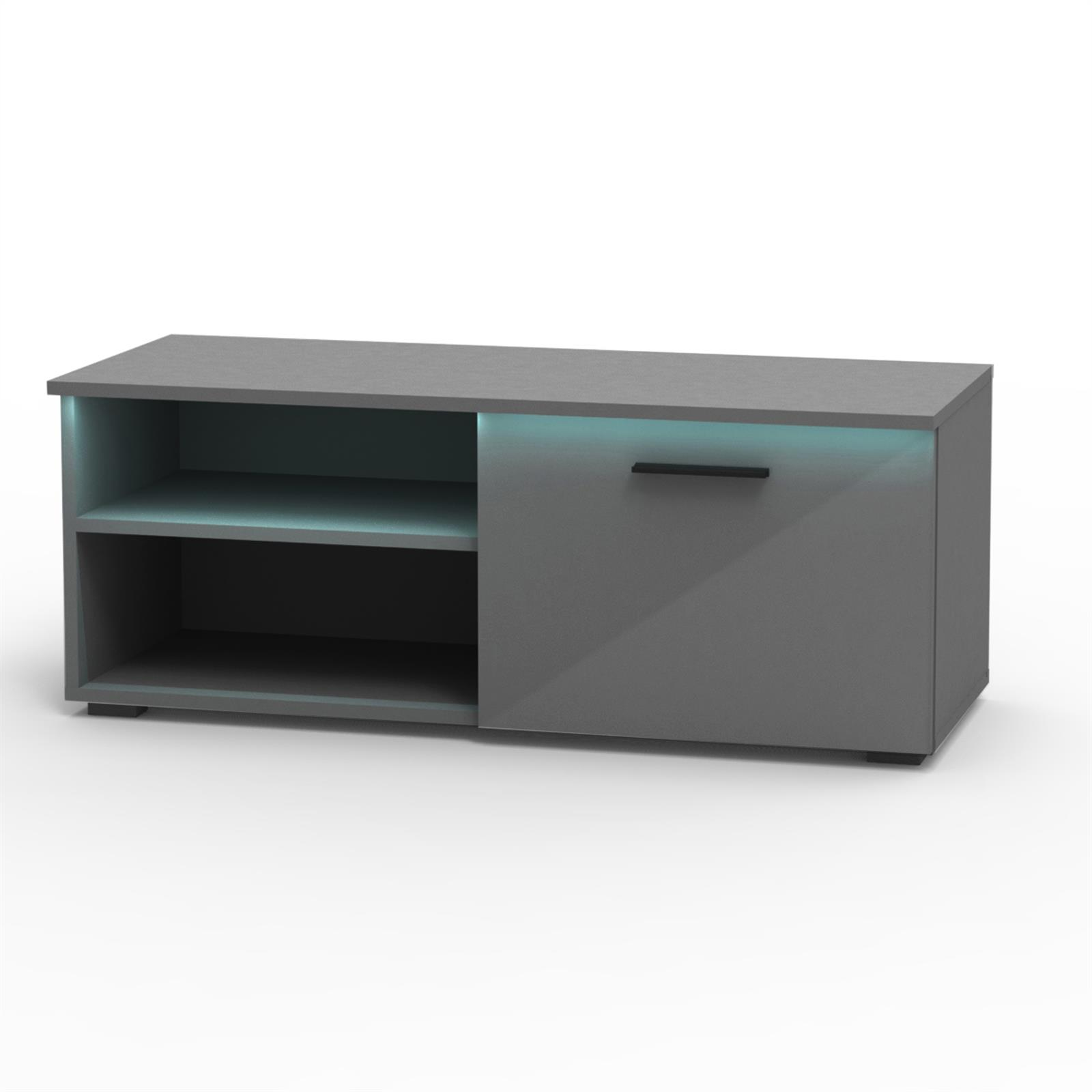 tv lowboard in hochglanz 3 farben mit led beleuchtung fernseh schrank rack ebay. Black Bedroom Furniture Sets. Home Design Ideas