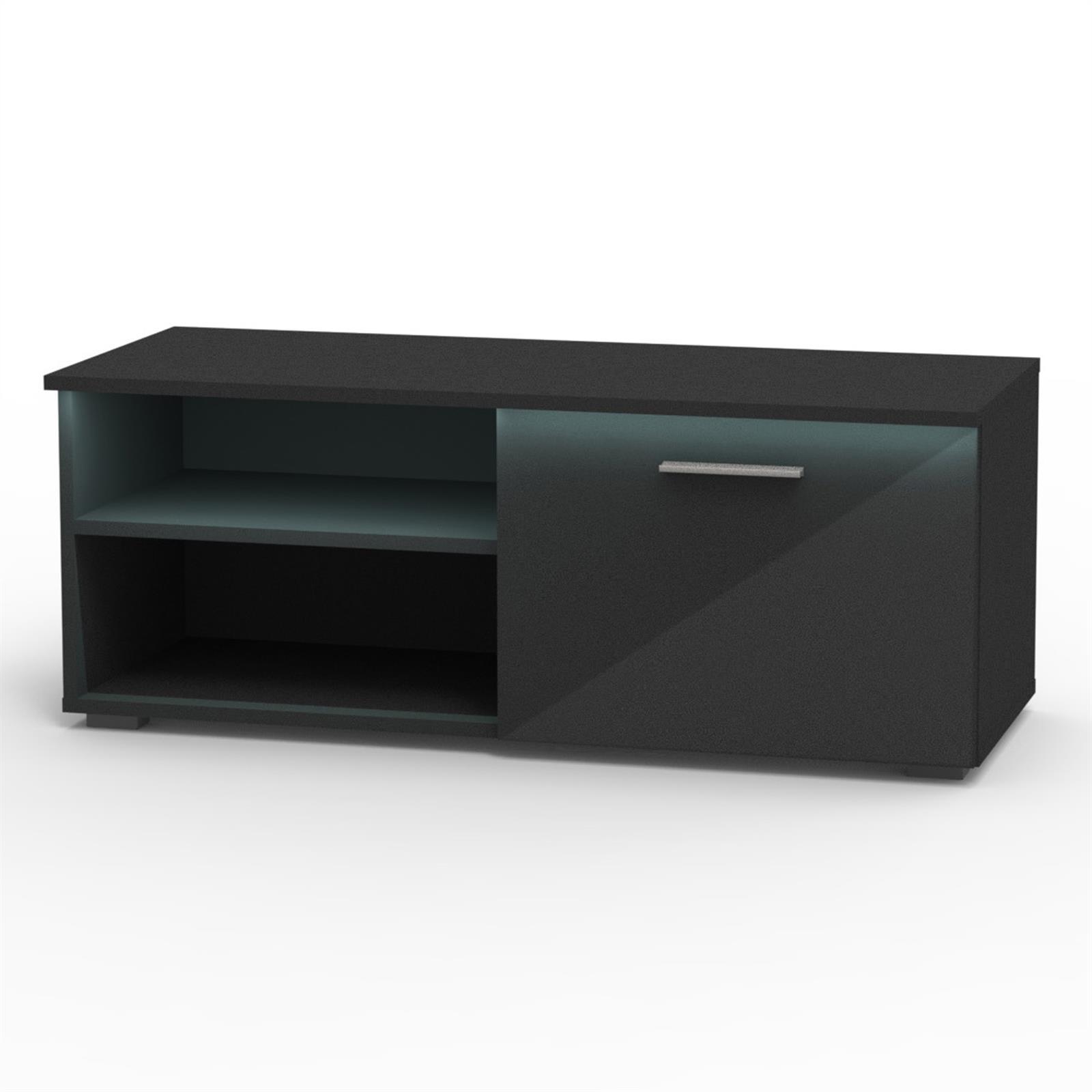 tv lowboard in hochglanz 3 farben mit led beleuchtung fernseh schrank rack ebay. Black Bedroom Furniture Sets. Home Design Ideas