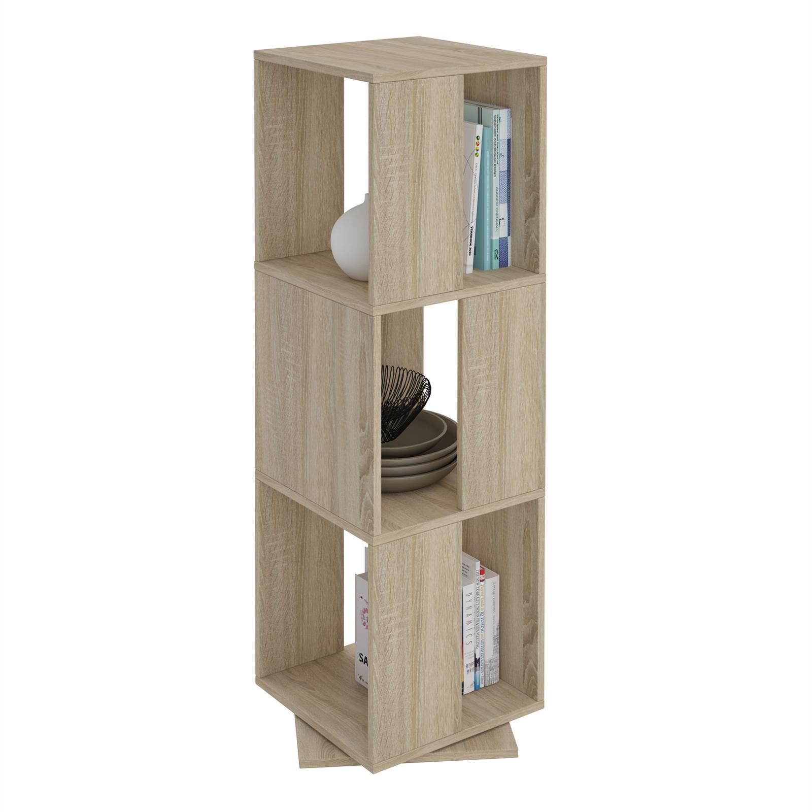 drehregal b cherregal deko regal b ro ordner drehbar mit 3 f chern 5 farben ebay. Black Bedroom Furniture Sets. Home Design Ideas