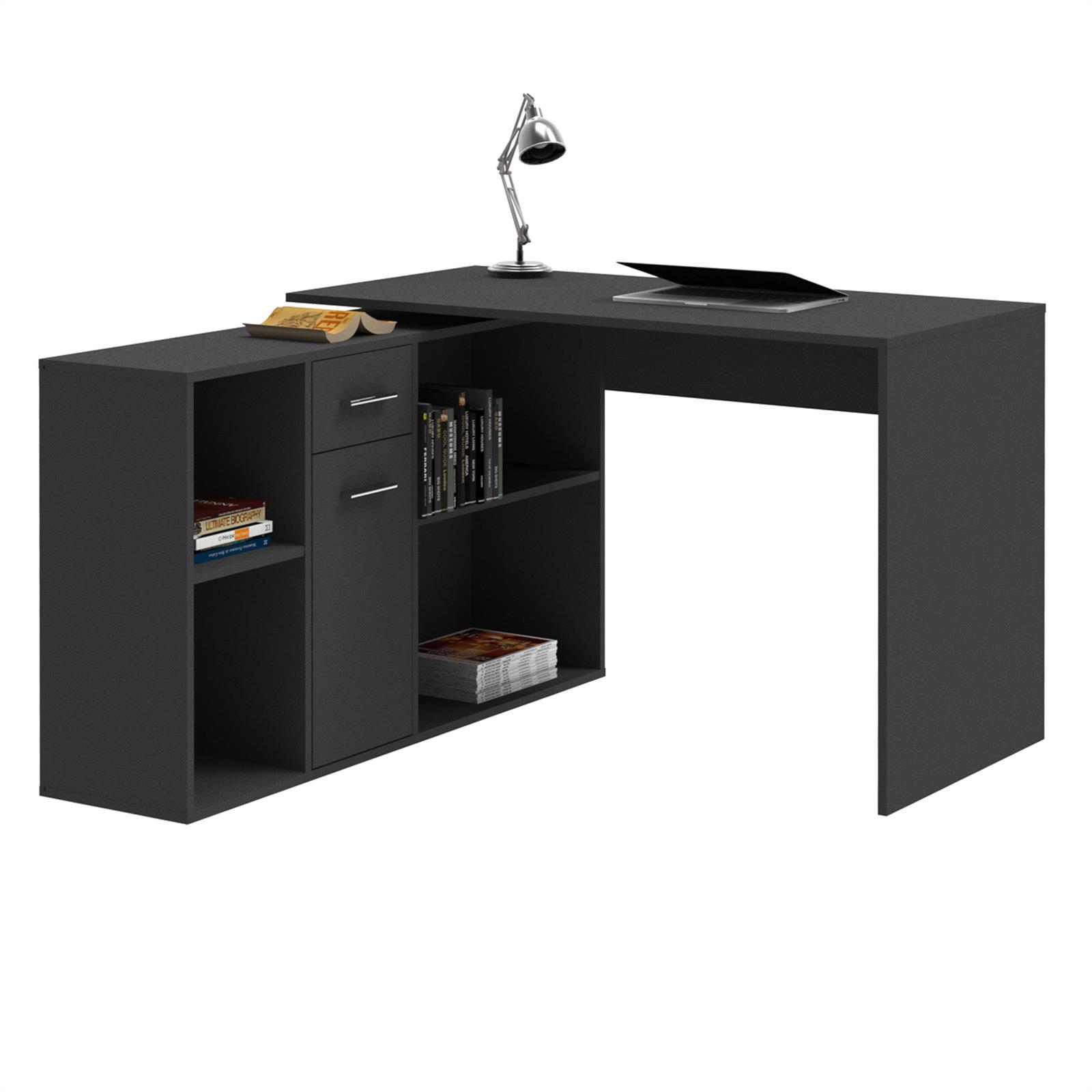 eckschreibtisch computer schreibtisch mit regal winkel b ro pc tisch jugend ebay. Black Bedroom Furniture Sets. Home Design Ideas