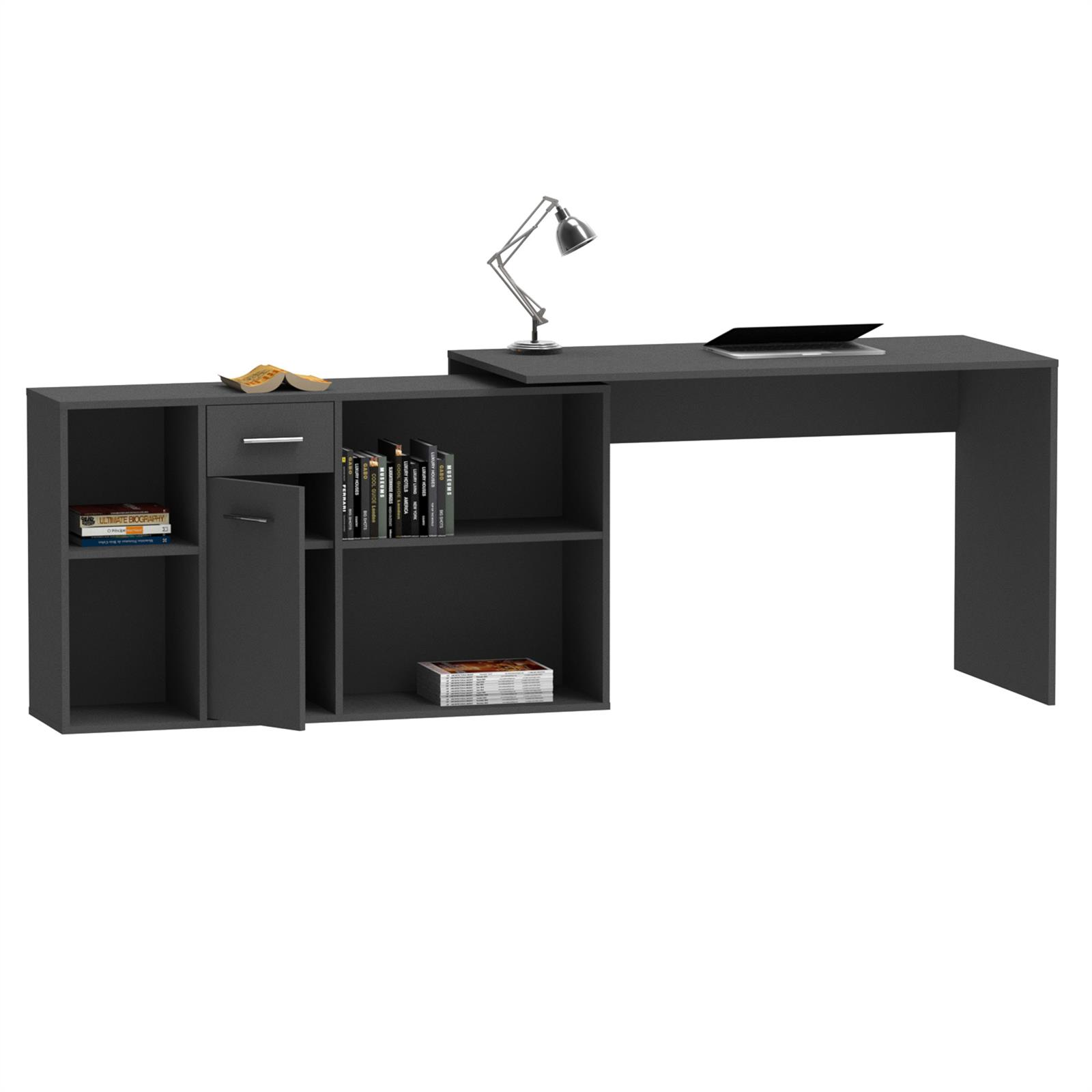 eckschreibtisch computer schreibtisch mit regal winkel b ro pc tisch jugend ebay. Black Bedroom Furniture Sets. Home Design Ideas