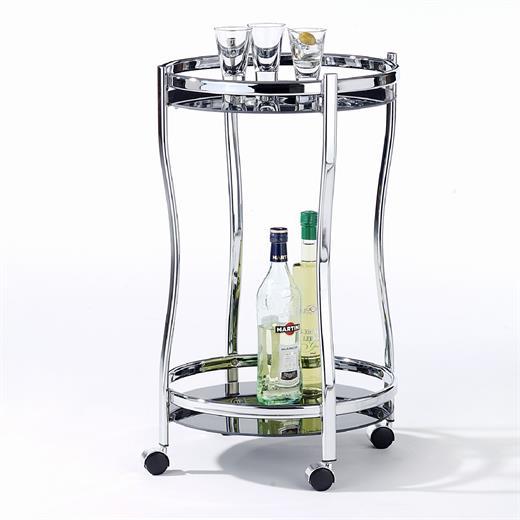 servierwagen k chen tee roll beistelltisch rund mit glas in schwarz design ebay. Black Bedroom Furniture Sets. Home Design Ideas