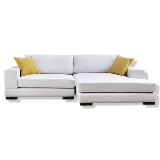 ecksofa couch in beige mit ottomane rechts microfaser stoff wohnzimmerm bel wei ebay. Black Bedroom Furniture Sets. Home Design Ideas