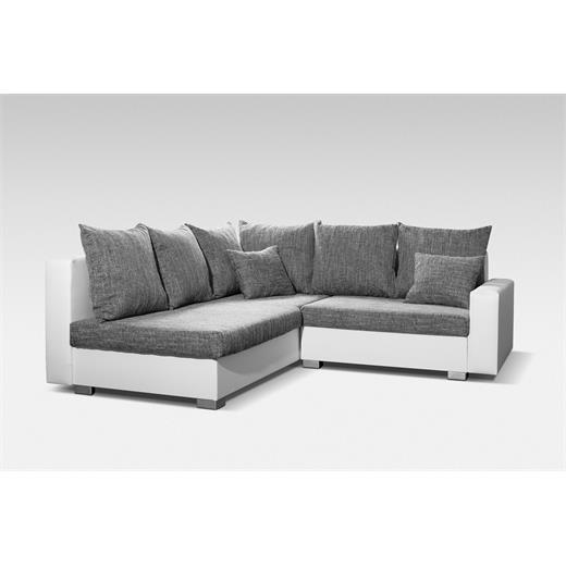 Ecksofa couchgarnitur polster m bel sitz design weiss grau for Ecksofa polster