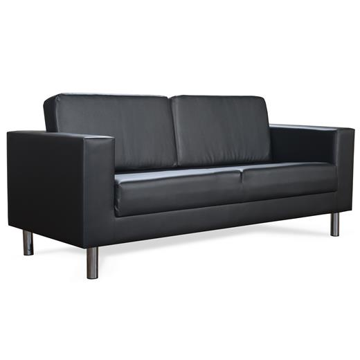 sofa couch 3 sitzer schwarz kunstleder polster m bel sitz design lounge modern ebay. Black Bedroom Furniture Sets. Home Design Ideas