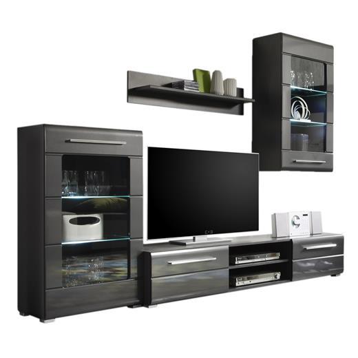 wohnwand grau hochglanz mit led beleuchtung anbauwand. Black Bedroom Furniture Sets. Home Design Ideas