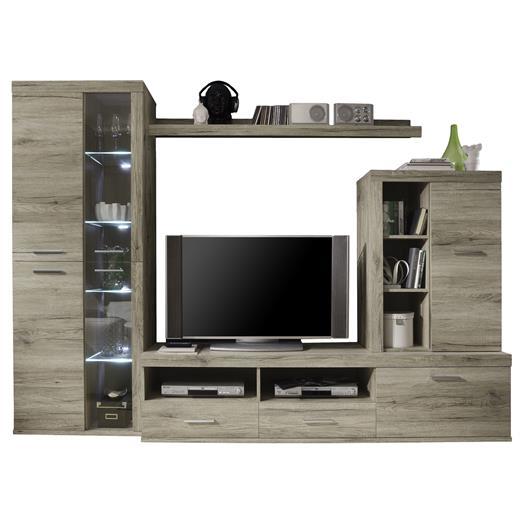 wohnwand eiche san remo mit led anbauwand wohnzimmer tv m bel viel. Black Bedroom Furniture Sets. Home Design Ideas