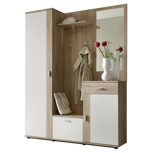 garderobe kompakt schrank kommode flur diele m bel spiegel in sonoma eiche weiss. Black Bedroom Furniture Sets. Home Design Ideas