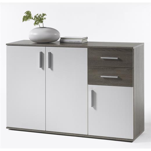 kommode sideboard schrank eiche sonoma dunkel weiss 120 cm breit ebay. Black Bedroom Furniture Sets. Home Design Ideas