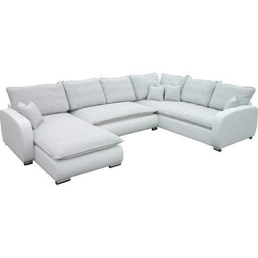 wohnlandschaft ecksofa sofa couch mit schlaffunktion in weiss beige ottomane lin ebay. Black Bedroom Furniture Sets. Home Design Ideas