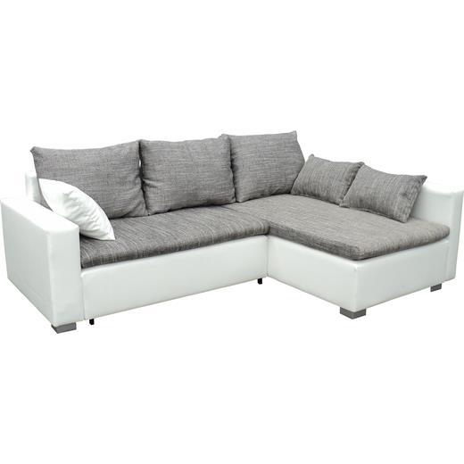 ecksofa eckcouch couch sofa mit rechter ottomane in weiss grau mit schlaffunktio ebay. Black Bedroom Furniture Sets. Home Design Ideas