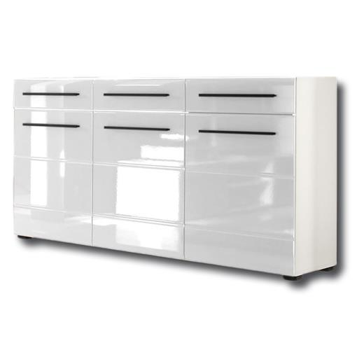 sideboard 150 cm breit weiss hochglanz mit 3 t ren 3 schubladen kommode anrichte ebay. Black Bedroom Furniture Sets. Home Design Ideas