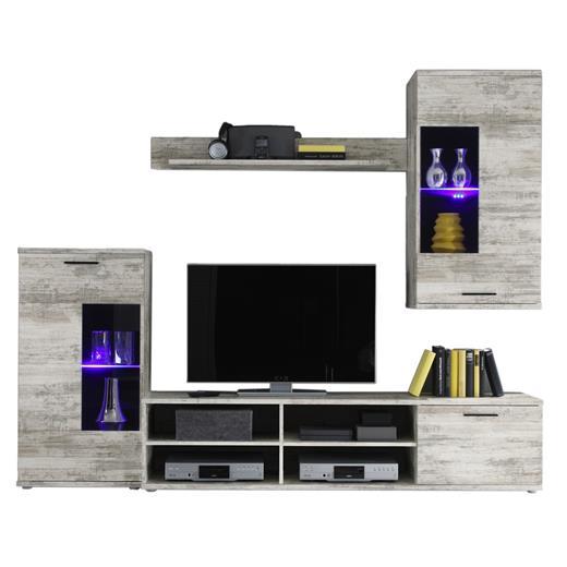 wohnwand eiche antik shabby chic look mit led beleuchtung anbau schrankwand. Black Bedroom Furniture Sets. Home Design Ideas