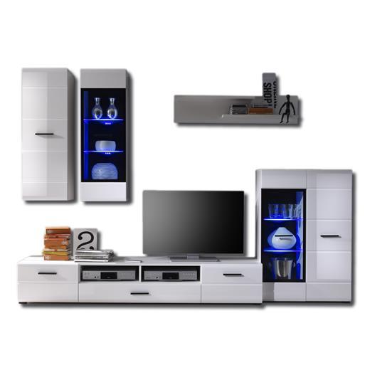 wohnwand weiss mit led beleuchtung anbauwand schrank tv m bel wohnzimmer ebay. Black Bedroom Furniture Sets. Home Design Ideas