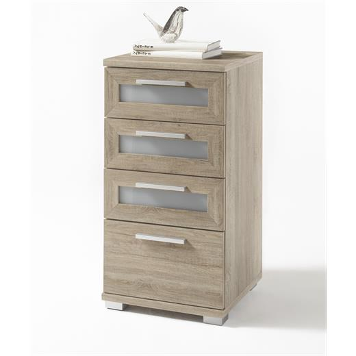 schubladenkommode kommode highboard 40 cm breit in sonoma eiche mit glaseinsatz ebay. Black Bedroom Furniture Sets. Home Design Ideas