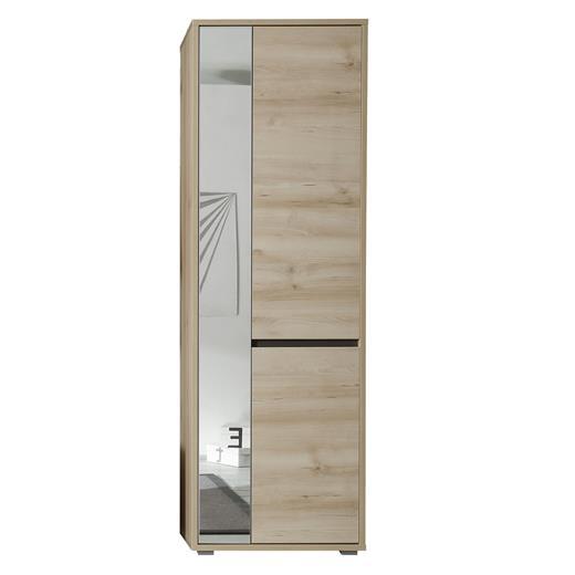 hochschrank in buche und grau mit spiegel garderoben flur. Black Bedroom Furniture Sets. Home Design Ideas
