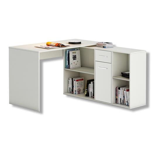 eckschreibtisch in weiss mit regal winkel computer b ro pc kinder ebay. Black Bedroom Furniture Sets. Home Design Ideas