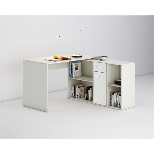 eckschreibtisch schreibtisch computertisch b ro kinder wei mit regal ebay. Black Bedroom Furniture Sets. Home Design Ideas