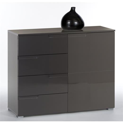 kommode 100 cm breit sideboard anrichte in grau anthrazit hochglanz design ebay. Black Bedroom Furniture Sets. Home Design Ideas