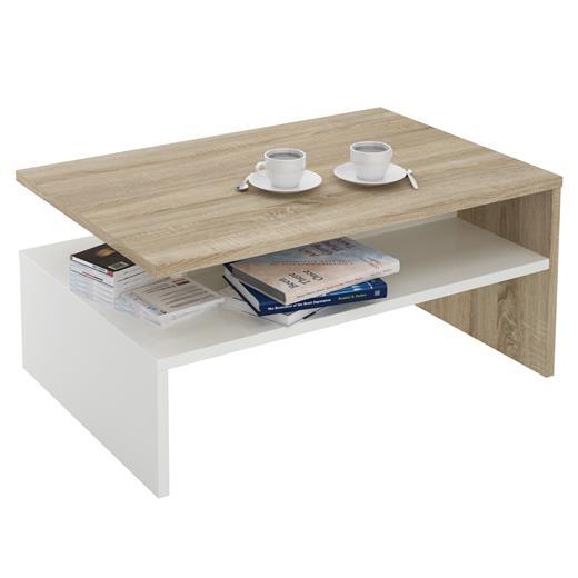 couchtisch in eiche sonoma weiss sofa beistell wohnzimmer tisch modern ebay. Black Bedroom Furniture Sets. Home Design Ideas