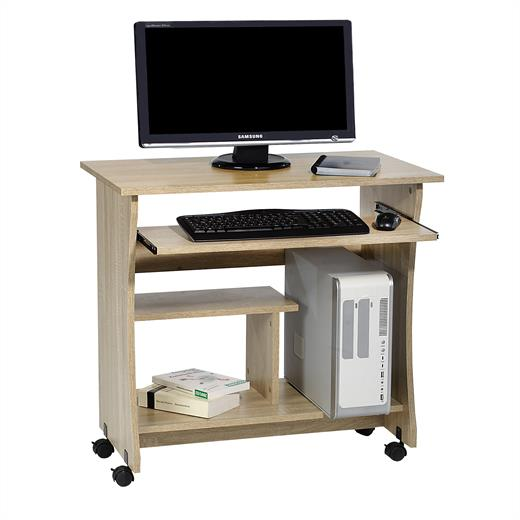 computertisch pc schreibtisch mit tastaturauszug und rollen 80 x 48 cm jugend ebay. Black Bedroom Furniture Sets. Home Design Ideas