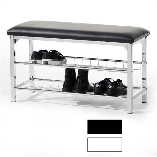 sitzbank schuhregal ablage kunstleder metall flur diele m bel in schwarz weiss ebay. Black Bedroom Furniture Sets. Home Design Ideas