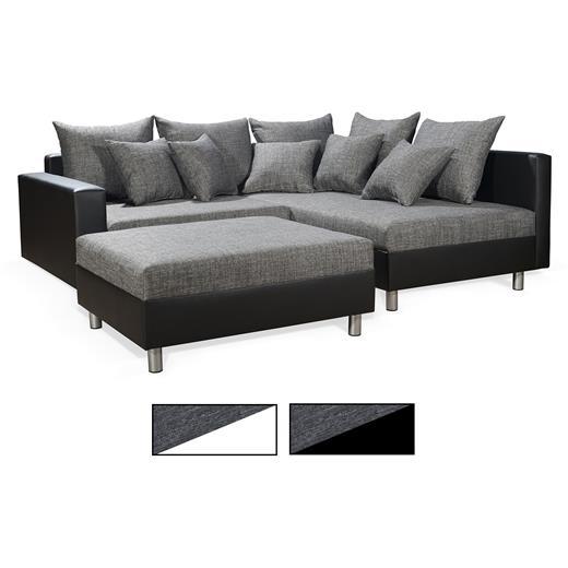 Ecksofa couch mit hocker in schwarz weiss grau ottomane for Ecksofa caro